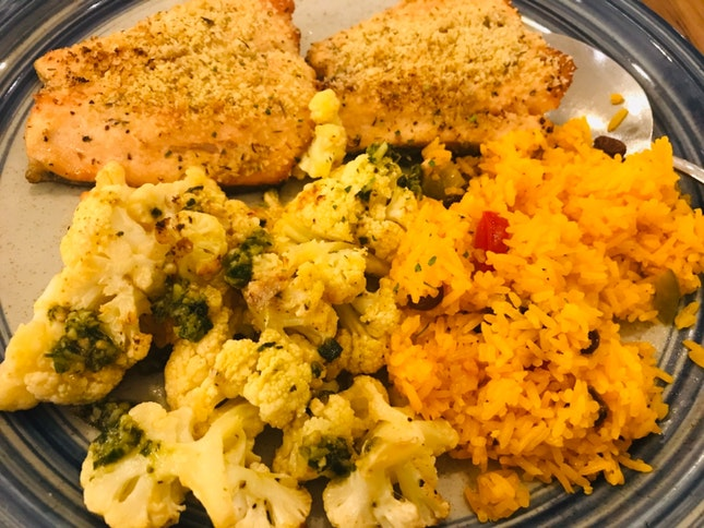Citrus 🍊 Crusted Salmon With Paella And Baked Cauliflower