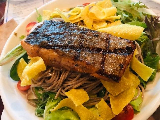 Grilled Trout Soba Salad