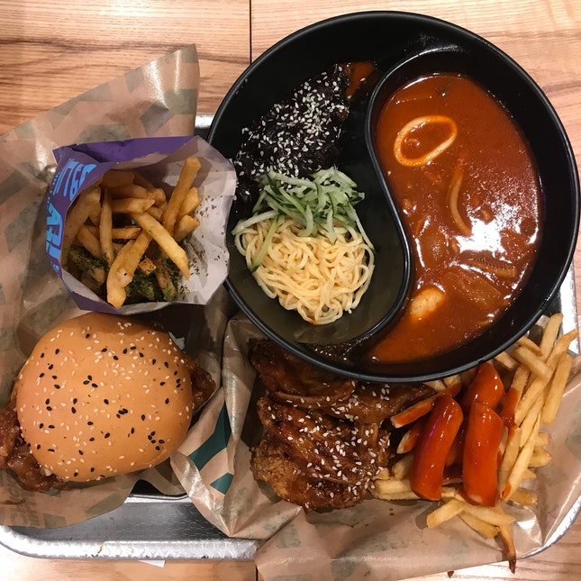 Chicken Burger • 2-in-1 Jjampong & Jjaiang Myeon • Jinjja Wings