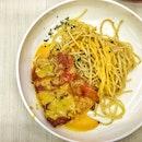 Salted egg chicken spaghetti