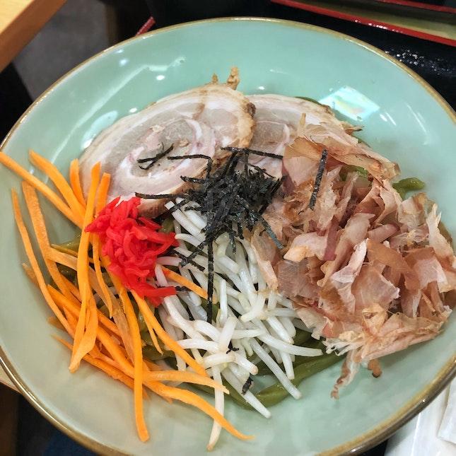 Hiyashi Char Siew Matcha Udon