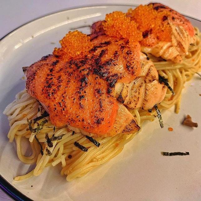 Mentaiko salmon spaghetti 😋😋