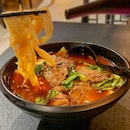 Handmade noodles with beef in Mala broth ($13.90)