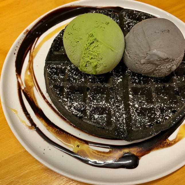 Charcoal Waffle With Green Tea And Black Sesame Ice Cream