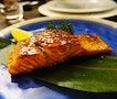 Salmon, grilled to perfection on the teppan grill.