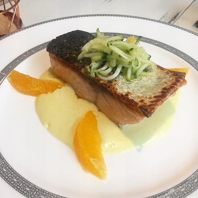 Salmon cooked to perfection.