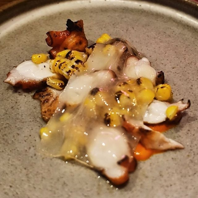Fremantle octopus, quandong and sweet corn.