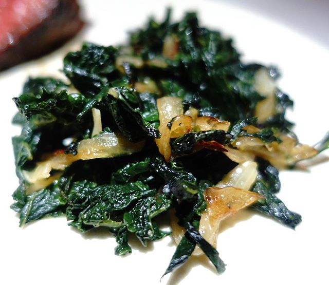 Black kale to accompany our steaks and pommes aligot.