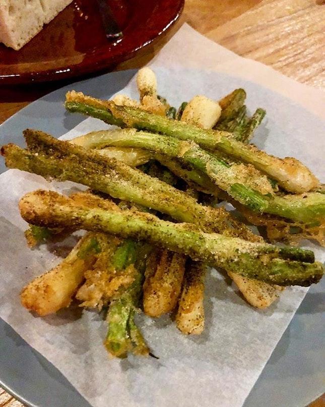 Spring onion tempura with salt vinegar.