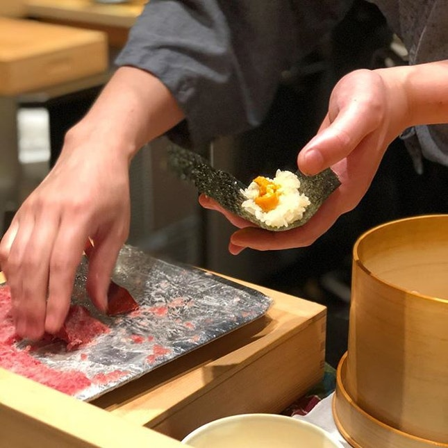 "Just when I thought our desserts were going to be served, Chef Kimura-san looked at my contented face which was smiling like a Cheshire cat and said, ""got some more space?"" Of course, in unison we chimed ""yes!"" for he was about to make us his famous toro handrolls"