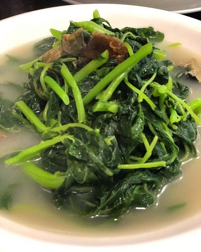 Spinach in superior stock.