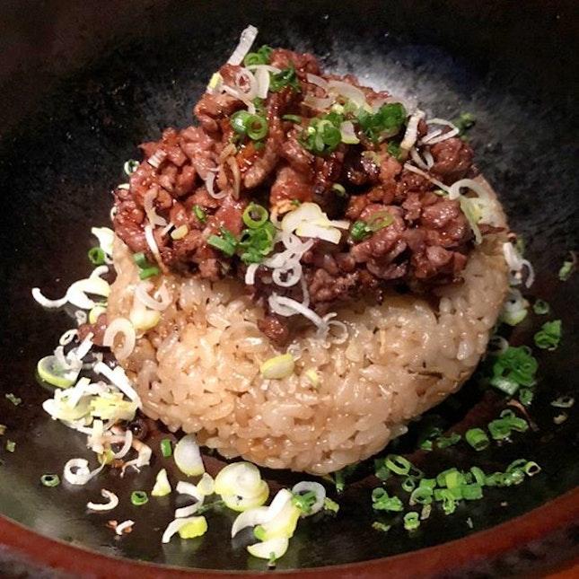 Claypot beef rice!