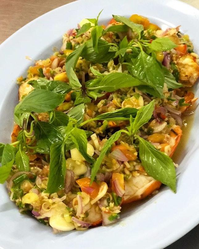Spicy river prawn salad.