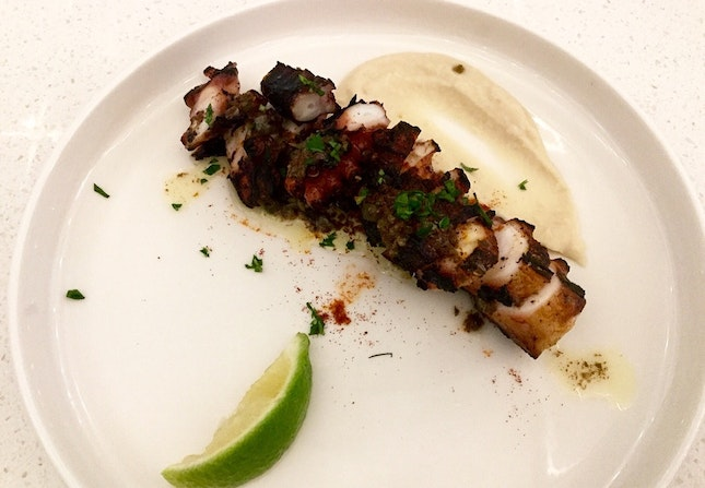 Grilled octopus, burnt butter, capers, bean purée  $27