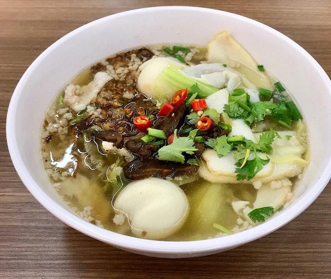 魚圓肉脞麵湯  $6