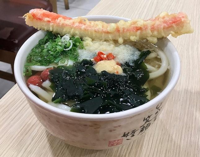 かけうどん + カニカマの天ぷら  $8