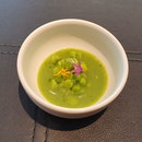 Italian green pea, green pea purée and broth infused with geranium