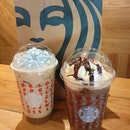 Iced Holiday French Vanilla Latte & Iced Peppermint Mocha  $8.70