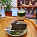 Matcha Hojicha Latte $6.80 | Goma Cake $8.80