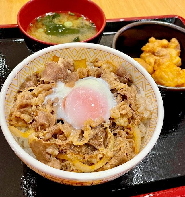 おん玉牛丼からあげセット (M)  $10.40