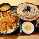 海老天丼と冷そばセット  $17.90