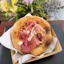 Parma Ham, Burrata, Olive Basil Relish Tartine  $14