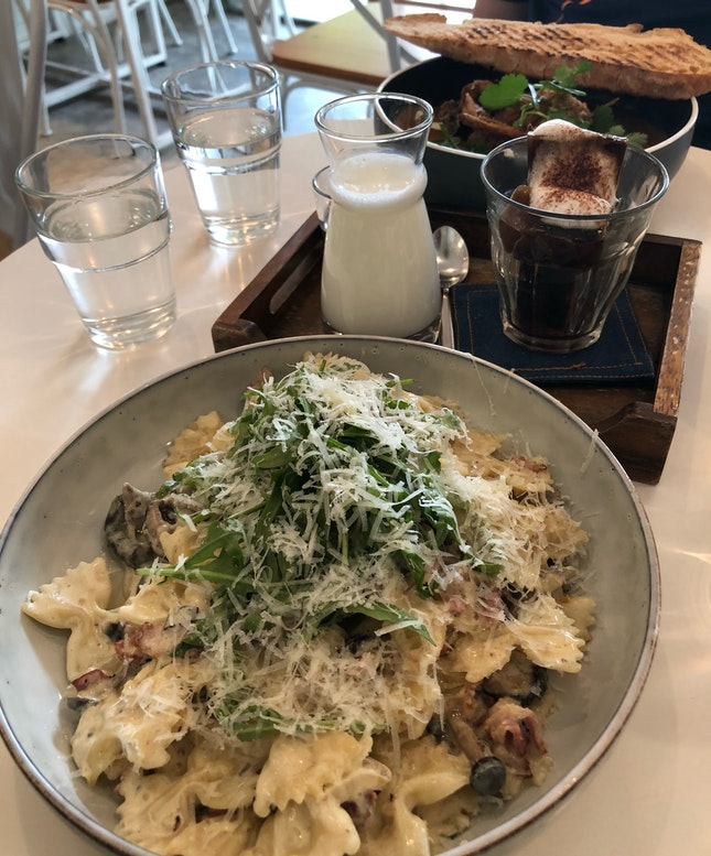 Fettuccini Cabonara ($16) And Soft Shell Crab Curry