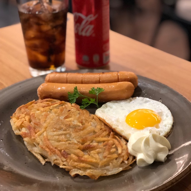 Rosti With Cheese Sausage ($11.90; Student Meal)