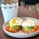 Avocado egg on toast.