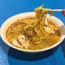 Curry chicken noodle ($4)  Affordable bowl of curry chicken noodles!
