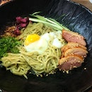 Charcoal duck ramen  Charcoal based cream sauce, onsen egg, and smoked duck breast.