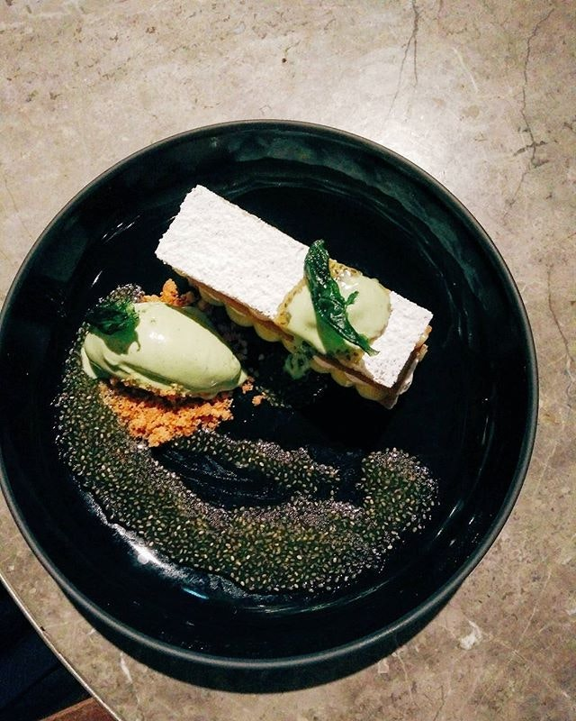 Lemon tart with basil ice cream.