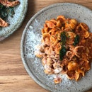 Orecchiette Pasta with Squid & Prawn Bolognese