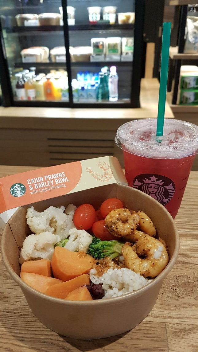 Cajun Prawns Barley Bowl With Ice Shaken Hibiscus Lemonade ($5.50)