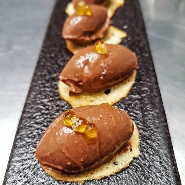Chocolate, sea salt, olive oil caviar and thin little toasts...
