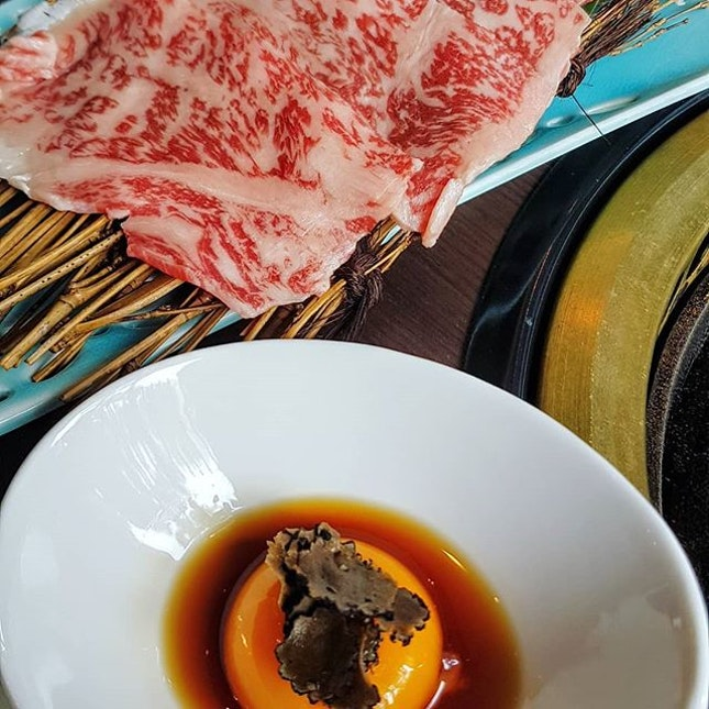 Yaki Shabu - pure bliss in the form of gorgeously marbleized, thinly sliced Japanese sirloin grilled at the table...