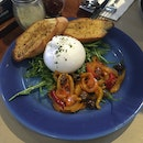 Burrata W/ Peppers And Olives, Rockets & Toast ($18.90)