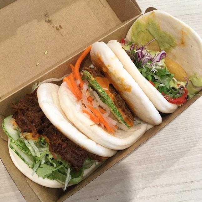 A Hearty Trio: Tempura Fish, Pulled Pork And Spicy Beef Baos! ($10/3 Baos)