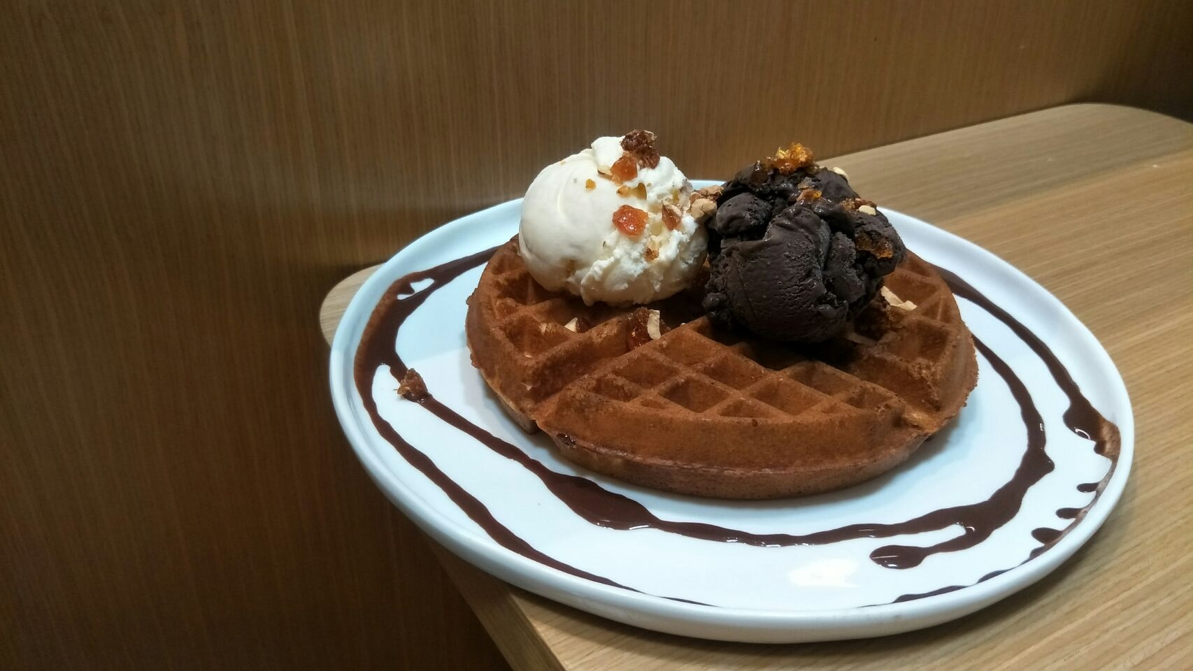 Indulgent ice cream waffles ($14)