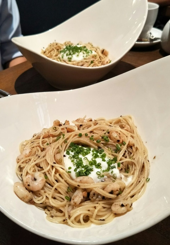 Shrimps Truffle Angel Hair Pasta ($21)