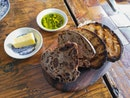 Firebake Bread Board with Greek Extra Virgin Olive Oil and Norwegian Butter ($10)