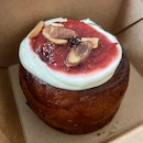 Strawberry-rhubarb lime roll w cream cheese frosting $5.50