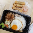 Takeaway Grilled Lemongrass Chicken set & Fried Vietnamese Spring Rolls f0r M0's farewell lunch earlier t0day S0 Ph0, s0 kinda healthy 😅😅 #sopho #grilledlemongrasschicken #vietnamesespringrolls .