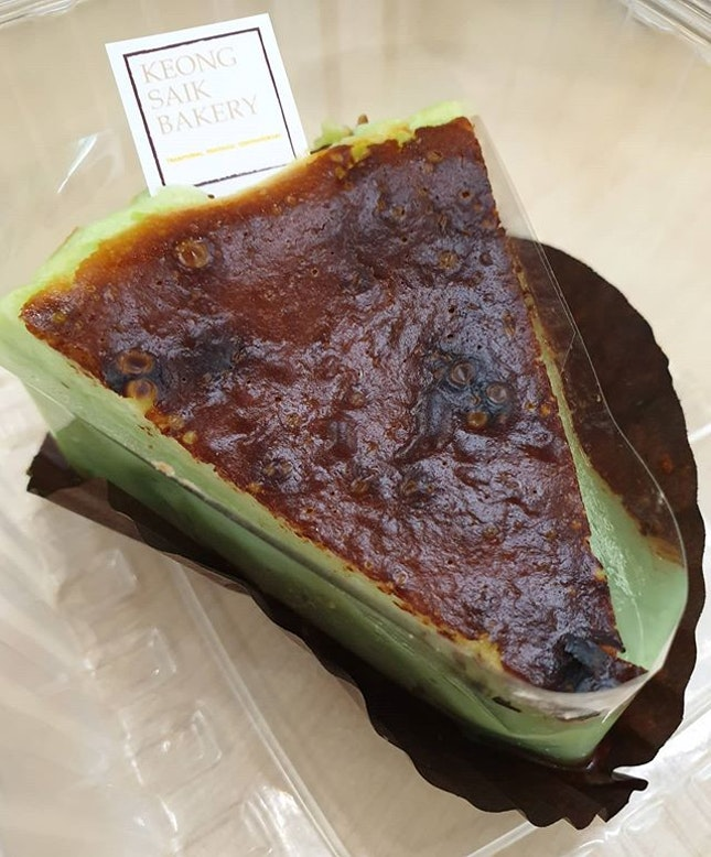Super yums Pandan Burnt Cheesecake 😍 fragrant, s0ft, creamy n0t jelak @ all!
