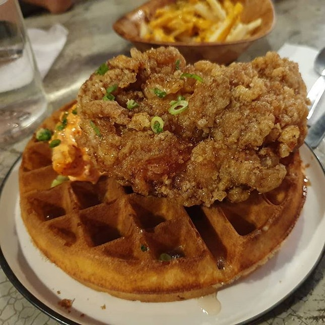 Mod Asian take on Chicken and Waffles with Kimchi Mayo on the side