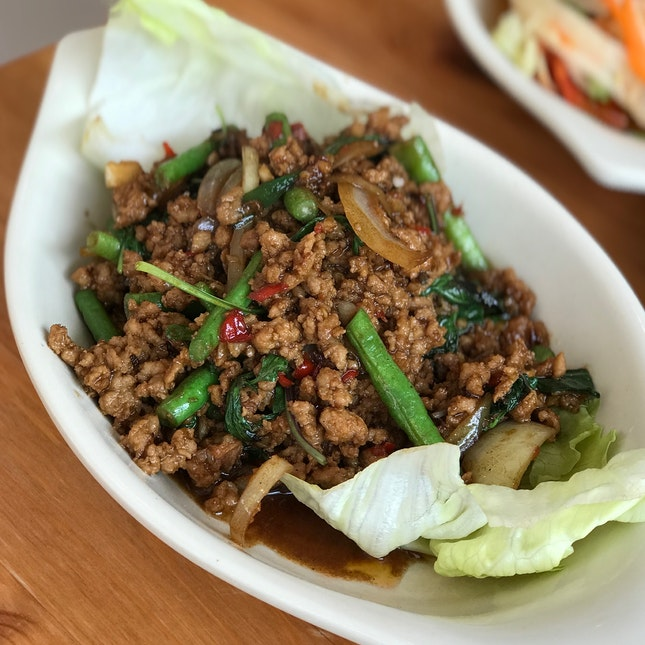 Stir-fried Minced Pork W/ Hot Basil Leaves - $8.00