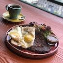 Australia ribeye & Eggs with toasted sourdough #food #foodporn #burpple #zomato #eatdrinkkl #cafehopmy #breakfast #ribeye #egg #sourdoughbread