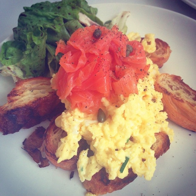 Smoked Salmon Croissant from #Boufe Boutique Cafe, freshly baked croissant, smoked salmon, scrambled egg, capers and fresh greens.