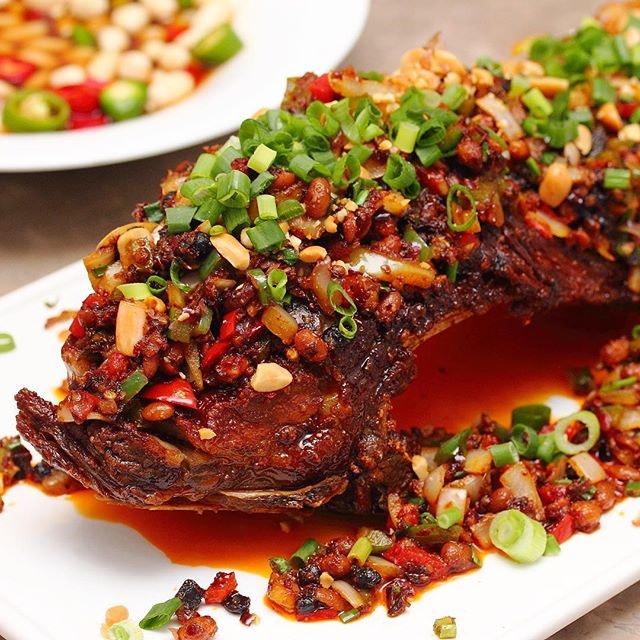[Si Wei Yan] - Spectacular in presentation is the Si Wei Signature BBQ Pork Ribs ($48).