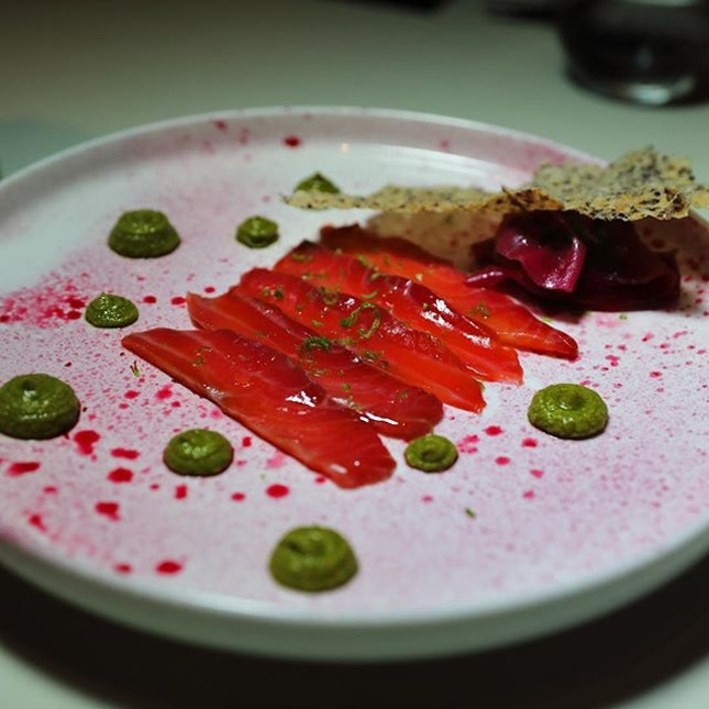 [Zafferano] - The slices of Salmon is marinated in beetroot juice for 3 days.